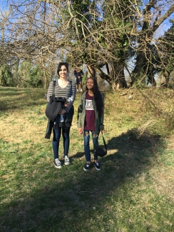 On a nice day the class went up to formerly known the beach but found a little groundhog friend so renamed the area Groundhog Hill. Ariefa and Aranya just finished working on two trees each and Nicky is in the back finishing up his.
